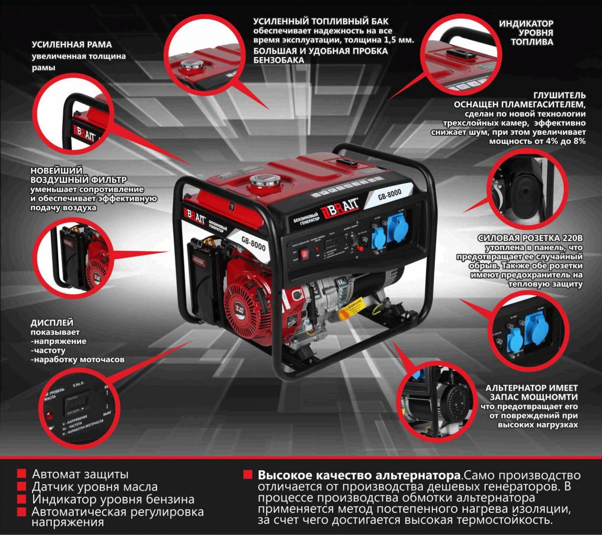 Генератор бенз. BRAIT GB-7500E PRO